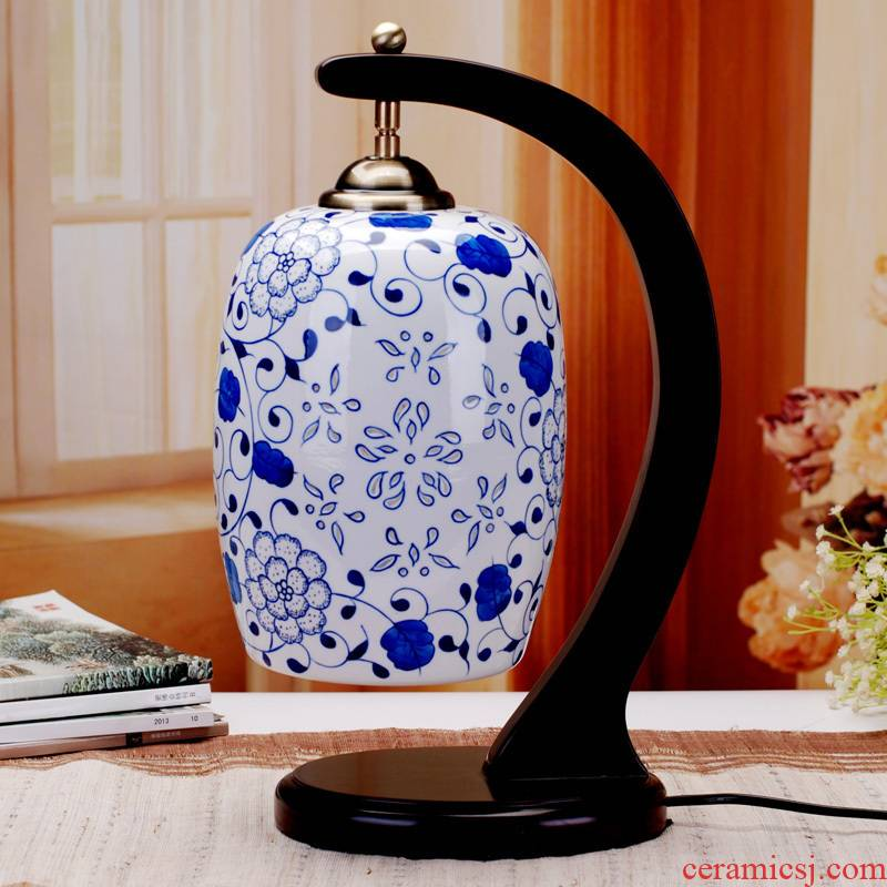 110 jingdezhen ceramic lamps and lanterns is blue and white enamel thin foetus waist drum table imitation of classical Chinese desk lamp of bedroom the head of a bed