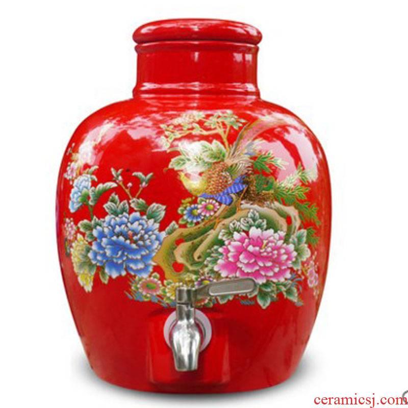 Jingdezhen ceramic jars 20 jins 30 kg sealed jar with cover bottle mercifully it a jar of wine