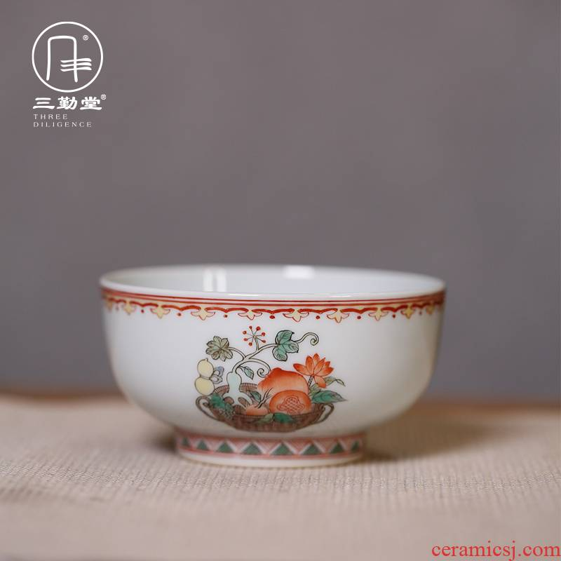 Three frequently hall jingdezhen fruit blue from year to year archaize festoon cup symbolize a fish master cup single CPU single sample tea cup