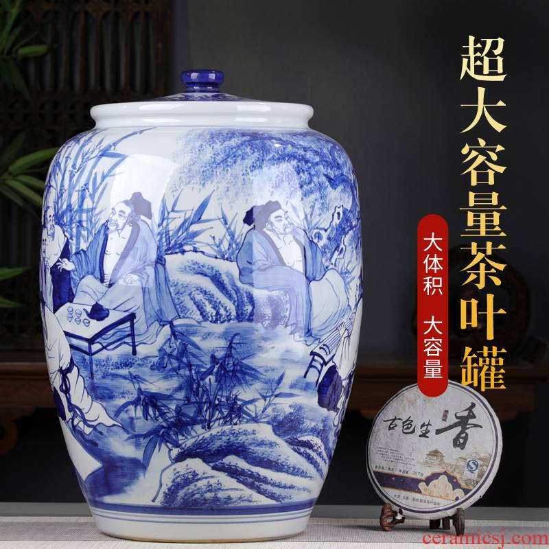 Hand - made bamboo seven sages of the blue and white porcelain tea pot large tea bucket with cover large storage heavy tea urn home