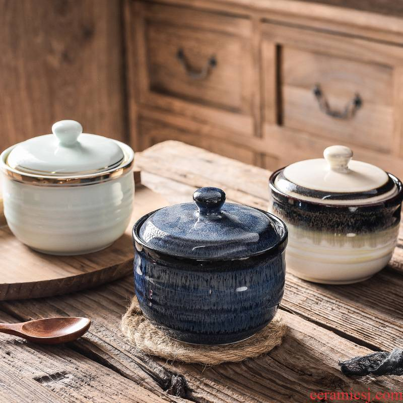 Stew ceramic bird 's nest with cover every household water Stew pot soup curing high - temperature small soup bowl, small single use