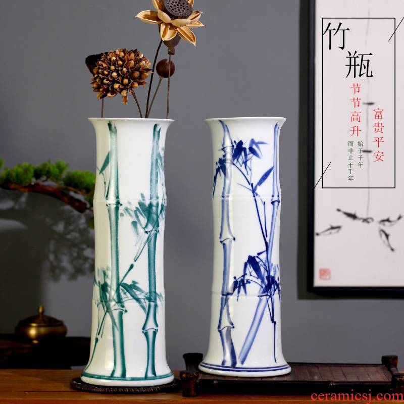 Jingdezhen ceramics tube lucky bamboo vases, flower arranging is placed in the sitting room the desktop, straight aquatic culture flower arrangement