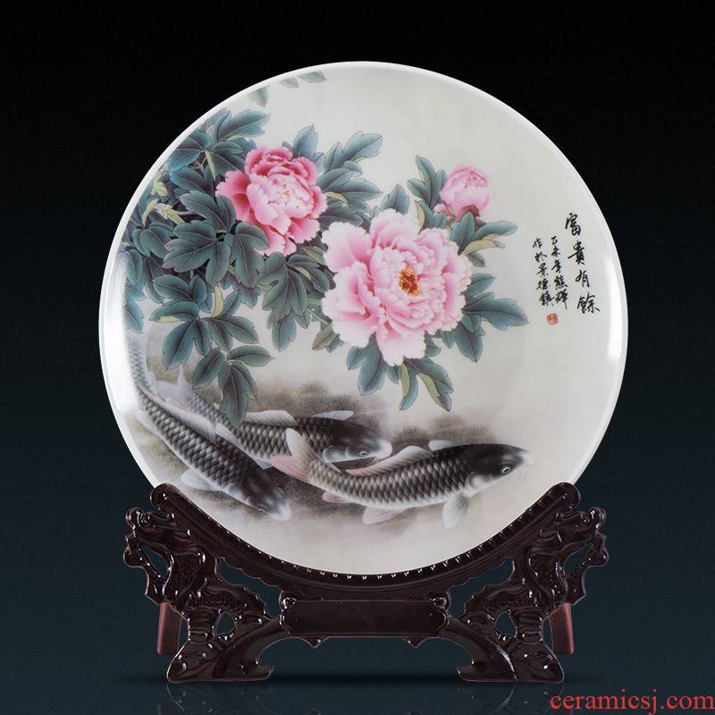 Jingdezhen ceramic hang dish decorative plate setting wall is wining years Chinese role ofing wall act the role of the sitting room