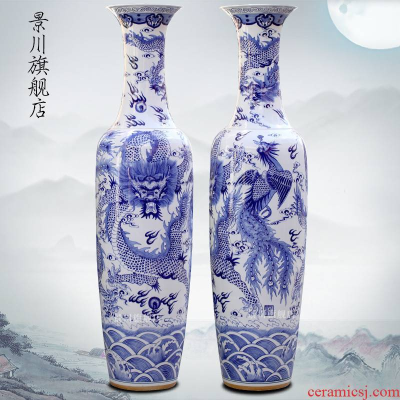 Jingdezhen ceramics hand - made of blue and white porcelain in extremely good fortune landing big sitting room adornment vase hotel furnishing articles