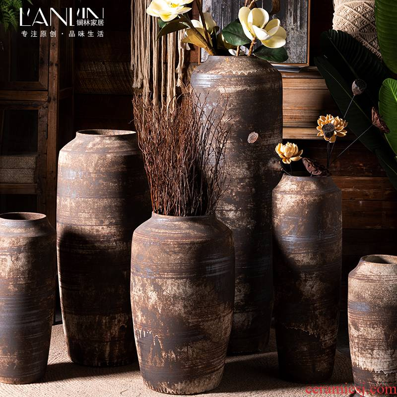 Jingdezhen ceramic vases, flower implement landing place dried flower arranging flowers sitting room adornment of new Chinese style restoring ancient ways large POTS