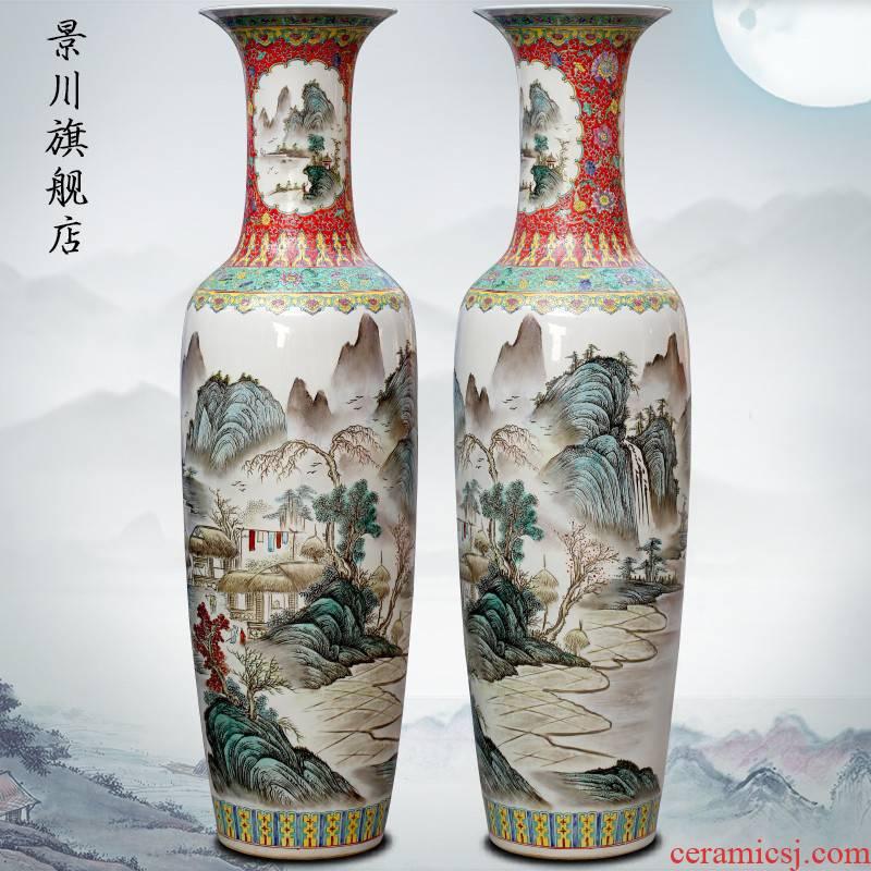Hand made landscapes jingdezhen famille rose porcelain vase landing place to live in the sitting room shops opening gifts