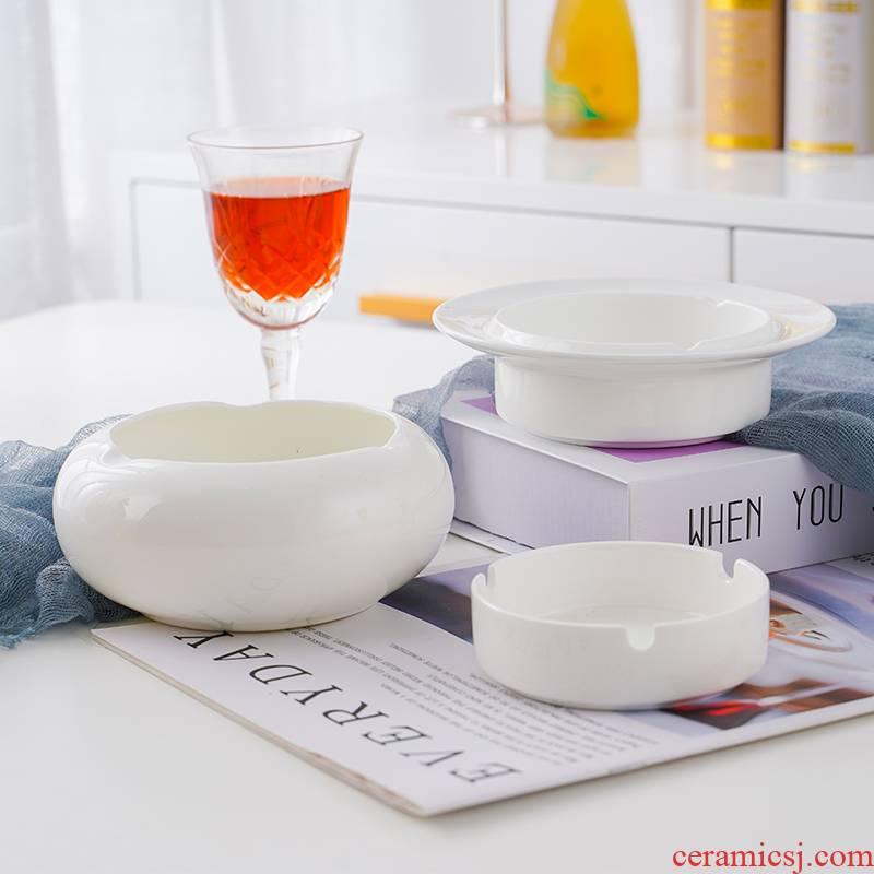 Jingdezhen ceramic ashtray hotel restaurant round bar KTV the ashtray pure white ipads China ashtray