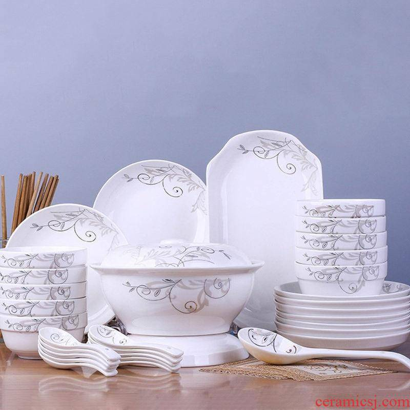 Ten people with dishes suit jingdezhen ceramic tableware tableware dishes dishes dishes suit ceramic package
