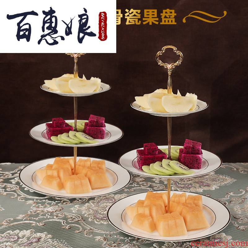 Three layer (niang compote with European ipads porcelain fruit dish rack shelf cake of melon seed set all the afternoon tea cake