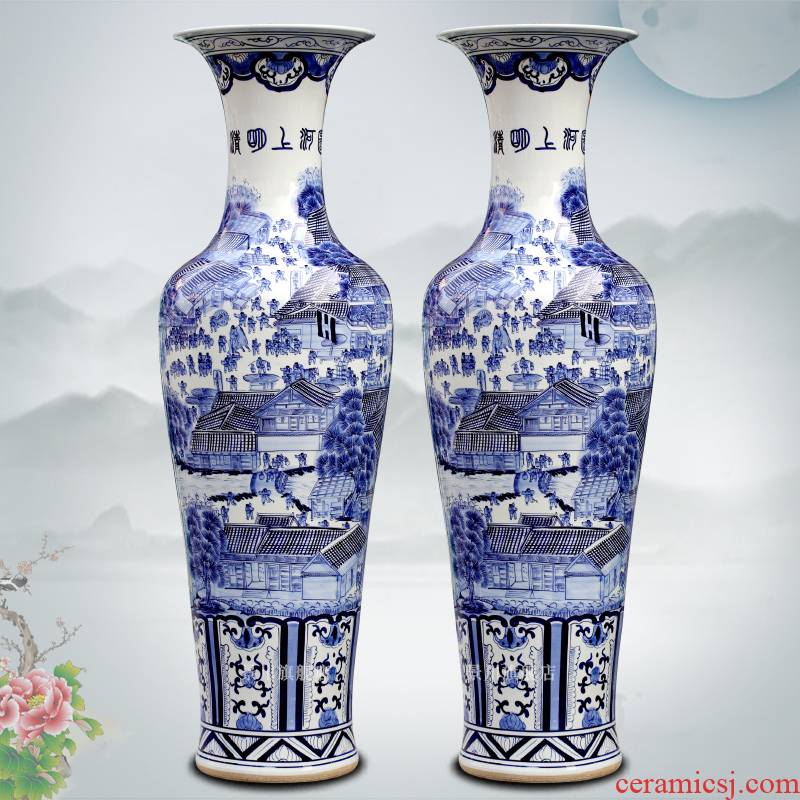 Hand draw qingming scroll goddess of mercy bottle porcelain of jingdezhen ceramics of large blue and white porcelain vase sitting room big furnishing articles