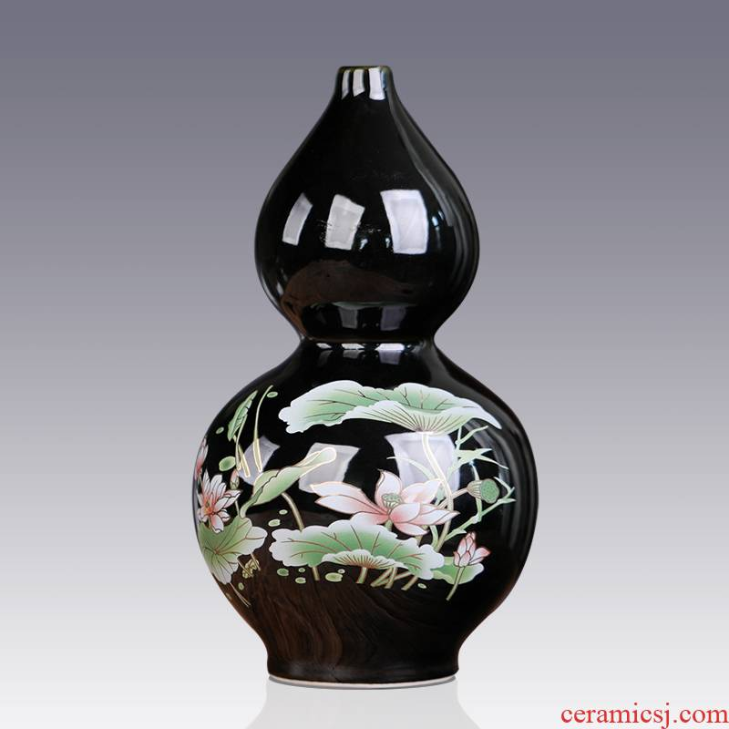 Jingdezhen ceramics black gourd furnishing articles large lotus flower vase sitting room porch place to send the base at the feel