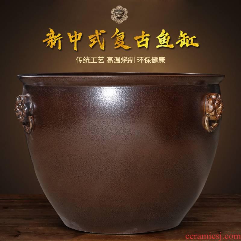 Jingdezhen ceramic aquarium large tank sitting room is suing garden water lily basin bowl LianHe cylinder extra large size large