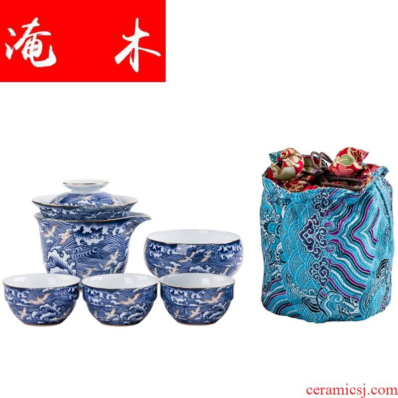 Flooded wood regimen yiping blue and white porcelain crack a pot of three Japanese household dry tea with portable travel