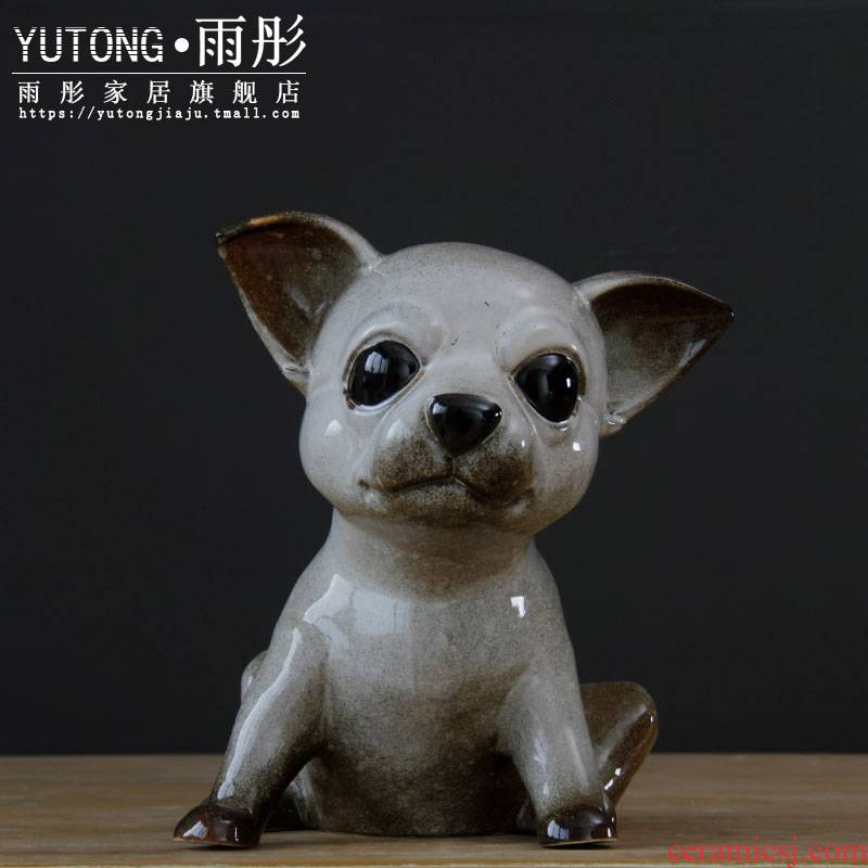 Jingdezhen ceramic creative gift European household dogs pet furnishing articles furnishing articles sitting room porch ceramic dog