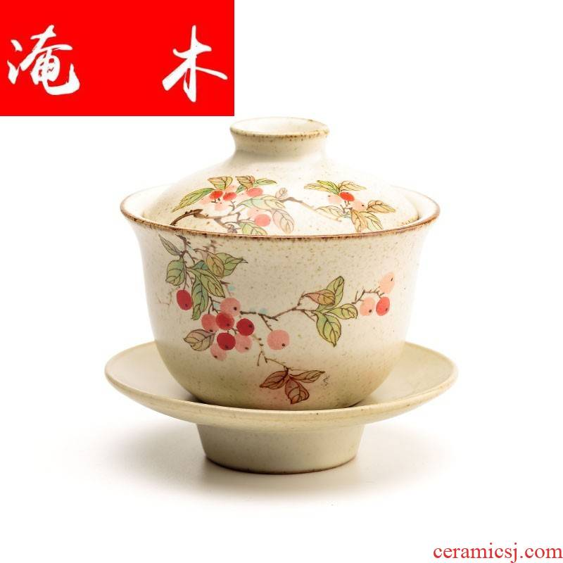 Submerged ceramic hand - made wooden only three cups of tureen jingdezhen large pure manual kung fu tea set three cups a dip