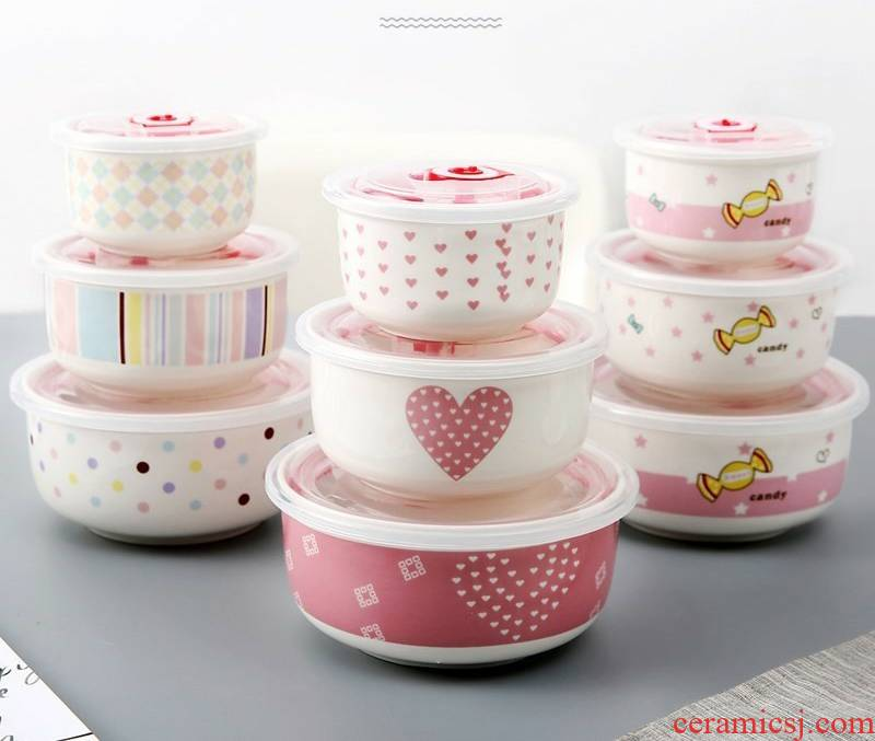 Small bowl with cover with a cover a Small bowl of three - piece ceramic bento lunch box microwave seal preservation box