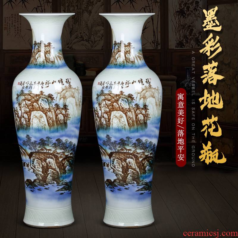 Jingdezhen hand - made ceramics vase of large sitting room of Chinese style household furnishing articles opening decorate gifts extra large