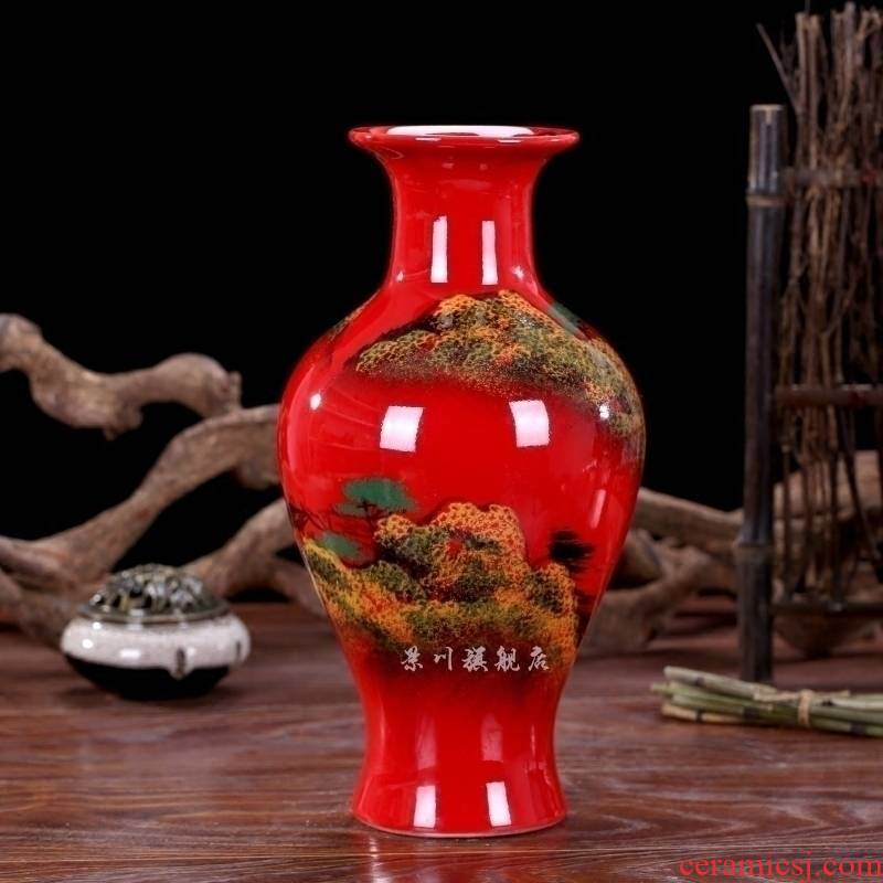 Jingdezhen ceramics China red landscape dried flowers flower arrangement floret bottle of modern Chinese style living room small ornament adornment