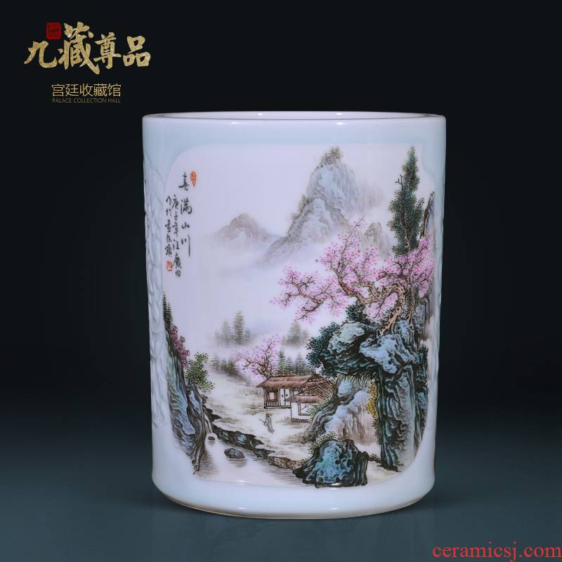 Jingdezhen ceramics hand - made scenery brush pot sitting room porch Chinese TV ark, flower arranging decorative vase furnishing articles