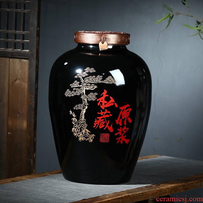 100 jins of jingdezhen ceramic jar mercifully it machine carved jars polymer sealing cover brewing cylinder bottles