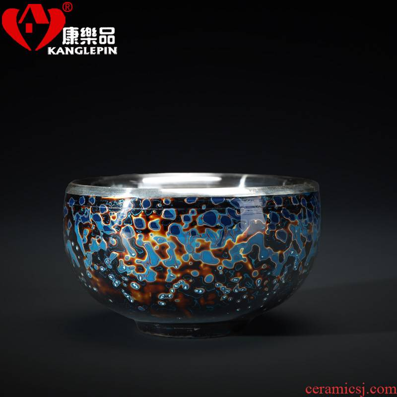 Recreational product lacquer tea pure manual silvering masters cup silver cup big 999 small silver ceramic cup
