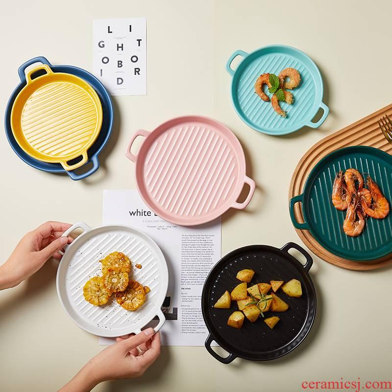 Nordic ceramic pan creative ears western food steak plate household practical microwave oven pizza baking plates