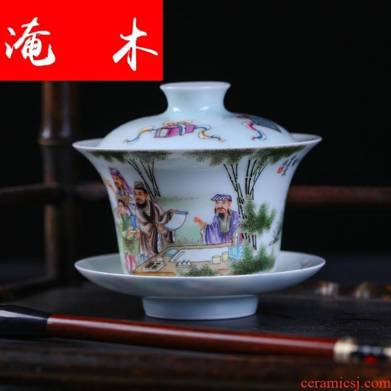 Submerged wood jingdezhen Jin Hongxia famille rose porcelain tea set hand - made tureen three cup ceramic bowl cover cup package mail