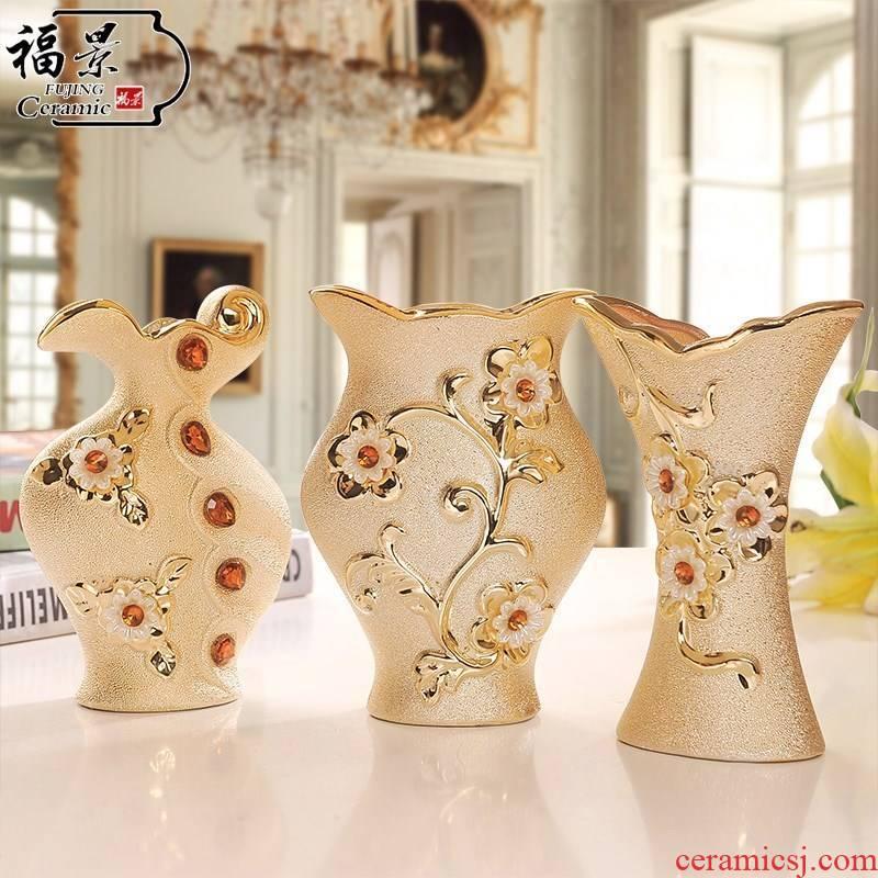 Jingdezhen ceramic European - style floret bottle gold - plated home furnishing articles I handicraft decorative flowers sitting room..