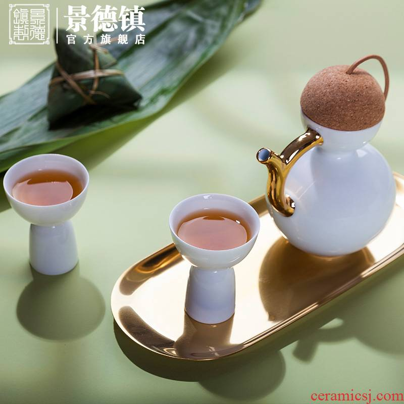 Jingdezhen ceramic official wine suits for fierce little white porcelain flask glass glass Japanese a small handleless wine cup cup creative household