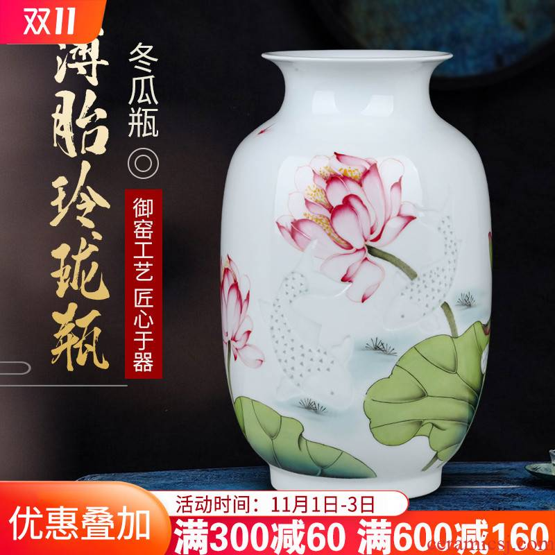 Jingdezhen famous hand - made ceramics vase flower arranging TV ark place, Chinese style household, the sitting room porch decoration