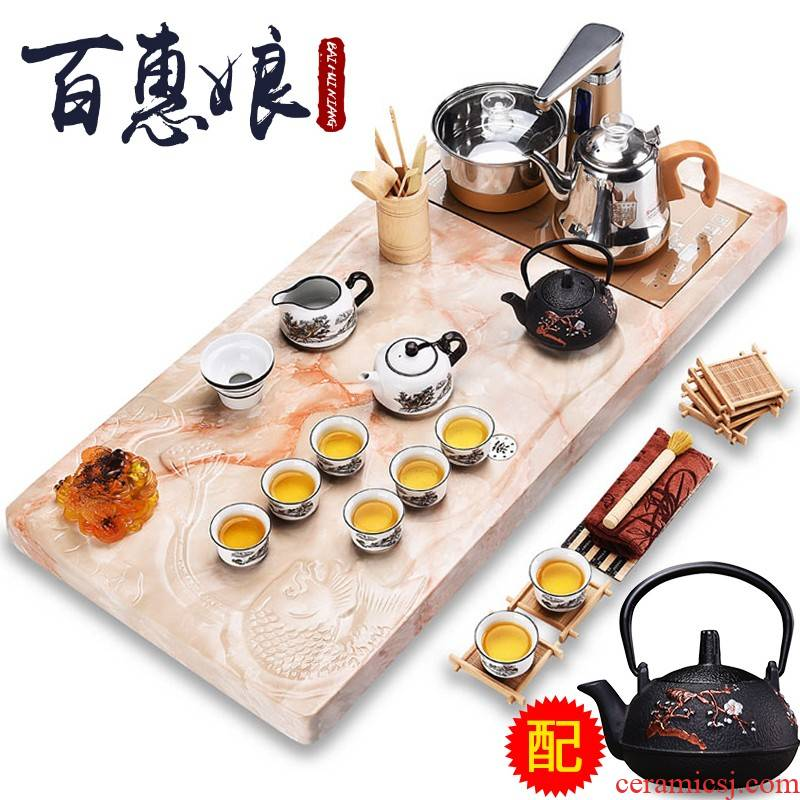 (niang purple sand tea set household kung fu tea tray was contracted sitting room tea tea ceramic teapot teacup