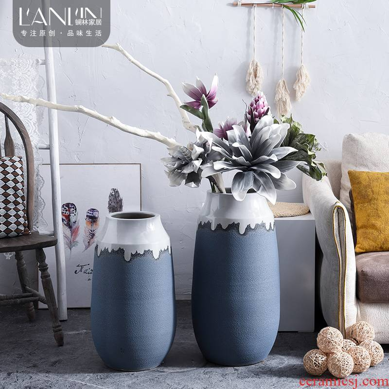 The modern ceramic vase sitting room ground adornment furnishing articles flower implement dried flowers EVA terms simulation flower arranging flowers