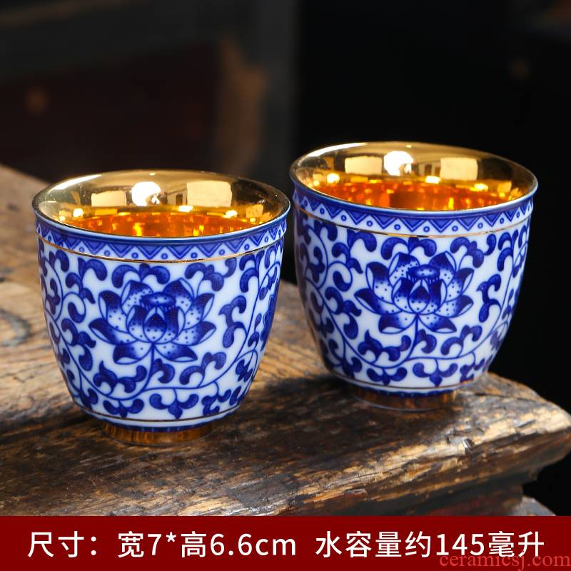 Tasted silver gilding sample tea cup kung fu tea ceramic cups, of blue and white porcelain tea set big personal cup master single cup, small cup