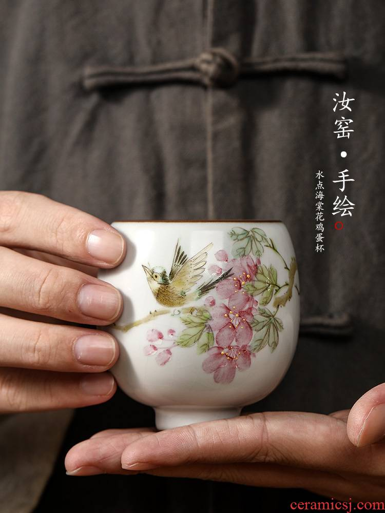 Jingdezhen your up hand - made peach blossom put water point kung fu master cup single cup of pure manual sample tea cup for cup ceramic cups