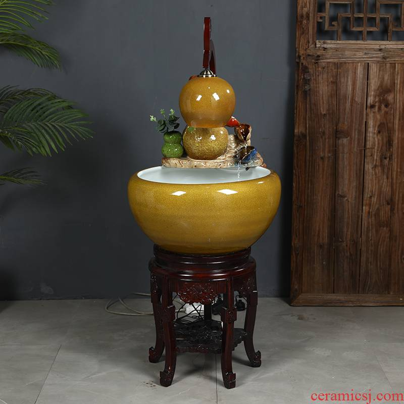 Up with jingdezhen ceramic aquarium tank circulation water filter water spray a goldfish bowl sitting room adornment small place