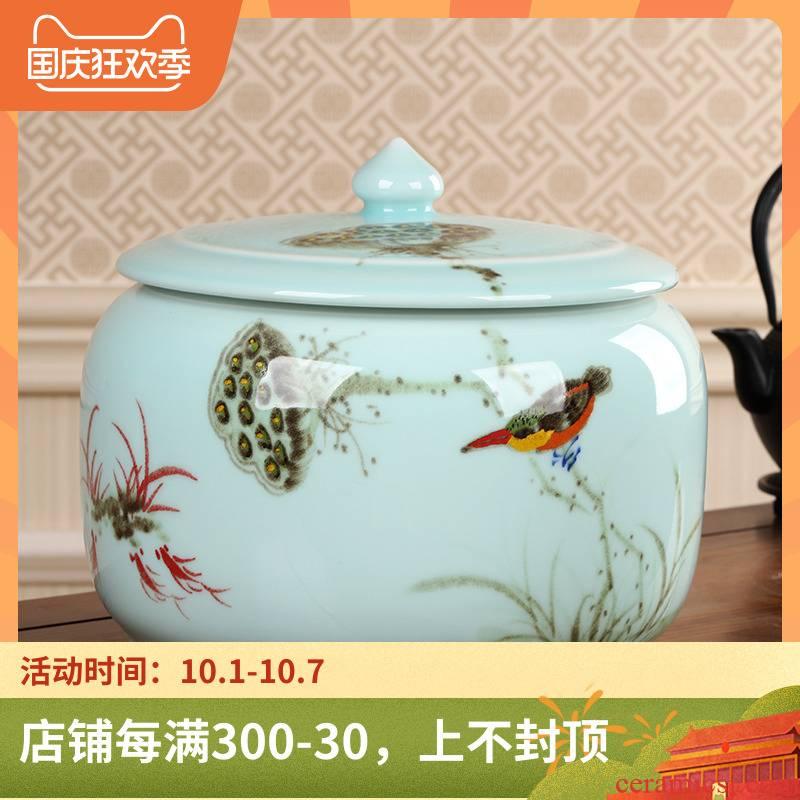 Celadon porcelain tea pot size 2-3 kg puer tea herbal tea as cans sealed as cans full manual storage POTS