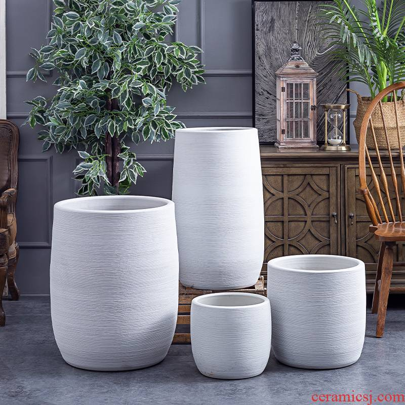 Creative contracted big ceramic vase furnishing articles sitting room ground flower arranging the Nordic decorate household green plant flowers, flower pot cylinder