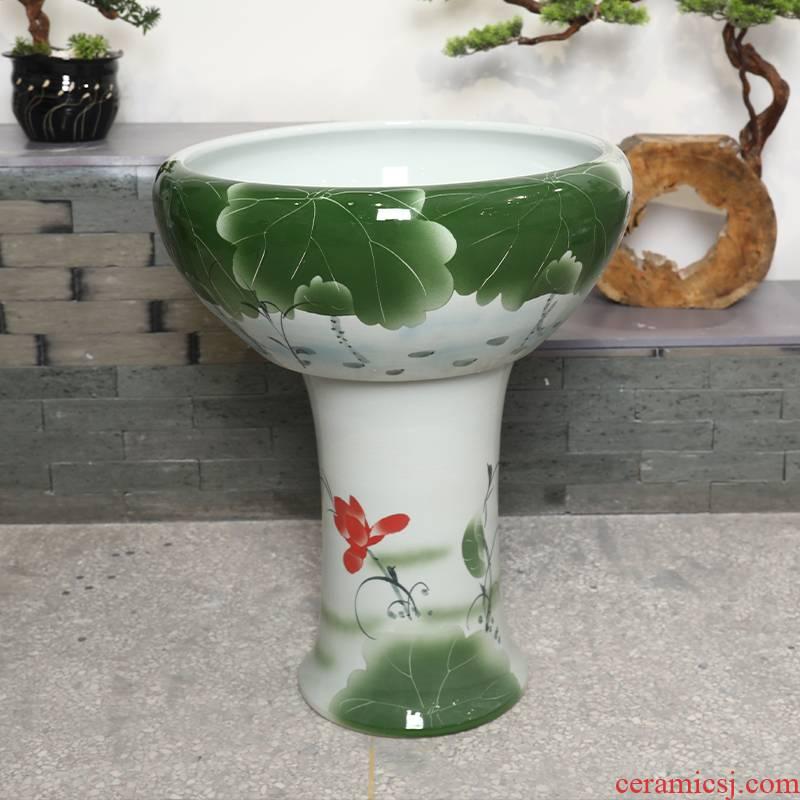 Jingdezhen ceramic tank floor pillar goldfish bowl large goldfish bowl lotus lotus tortoise GangPen courtyard