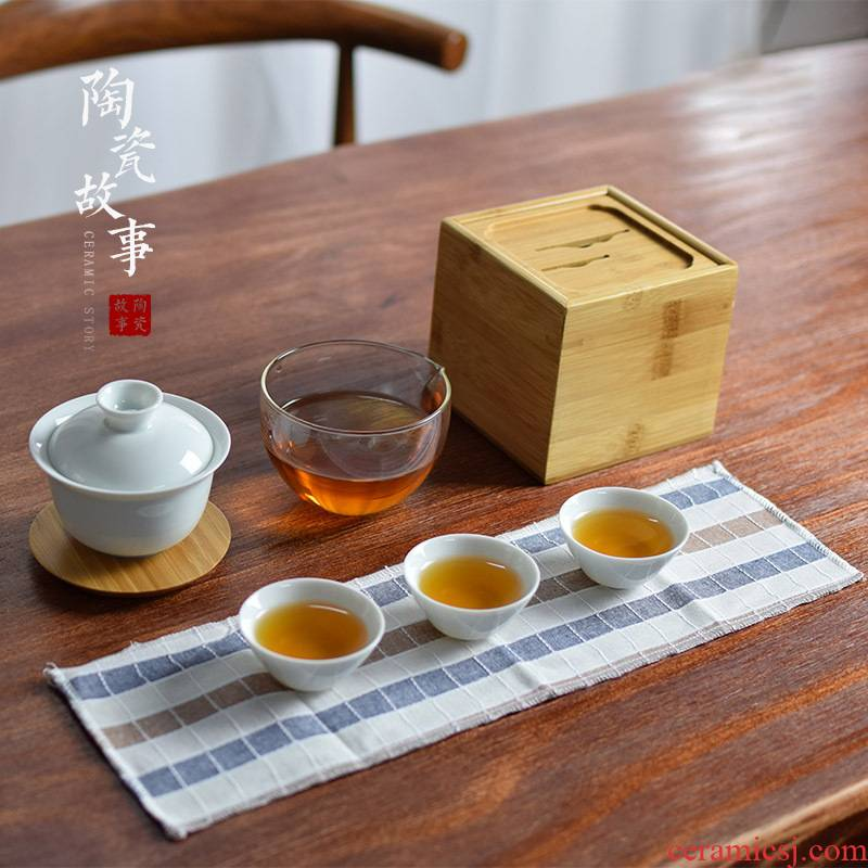 Ceramic travel story kung fu tea set household contracted Japanese portable package celadon tureen tea cups suits for
