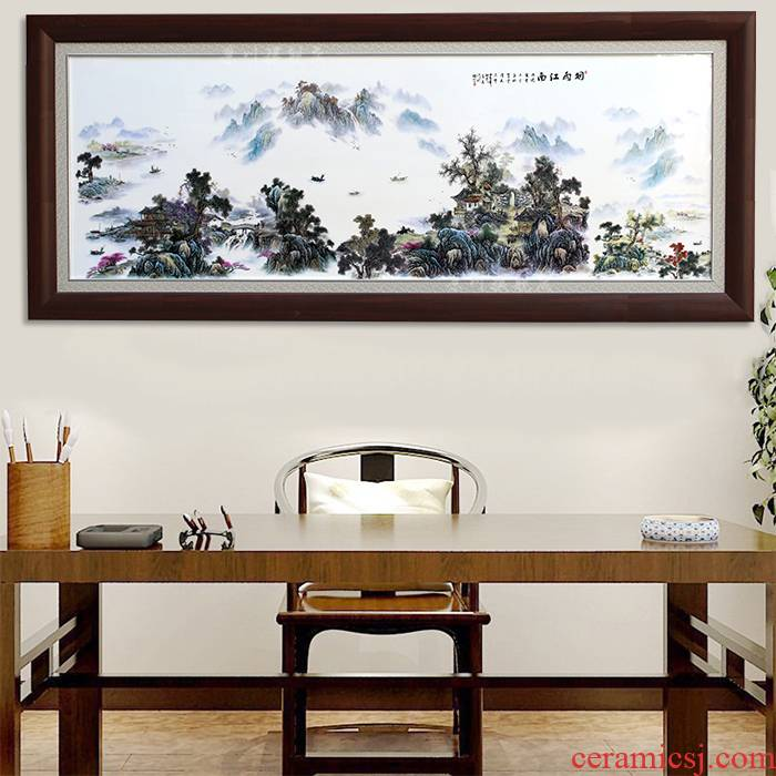 Misty rain jiangnan porcelain plate painting background of jingdezhen porcelain painting in the sitting room sofa set office wall adornment ceramics