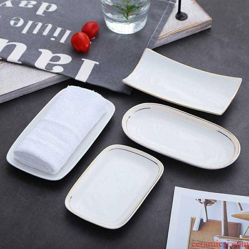 Small fruit dish towel tray was European - style hotel towel dish dishes steamed vermicelli roll plate disc ceramic disc household wipes w