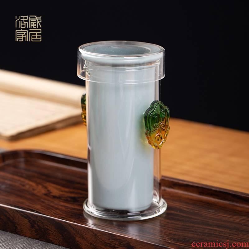 Crack, glass cup portable kung fu tea set jingdezhen your up hand grasp pot of tea cup tea separation
