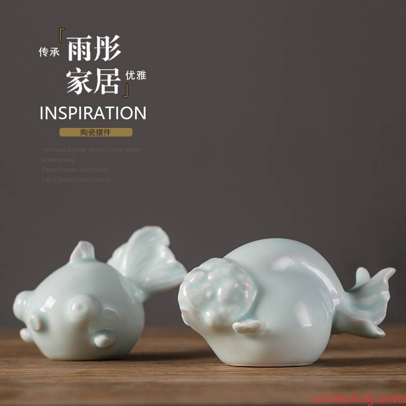 The tong household powder glaze year after year have fish soft outfit furniture green glaze ceramic creative modern decoration home outfit fish furnishing articles