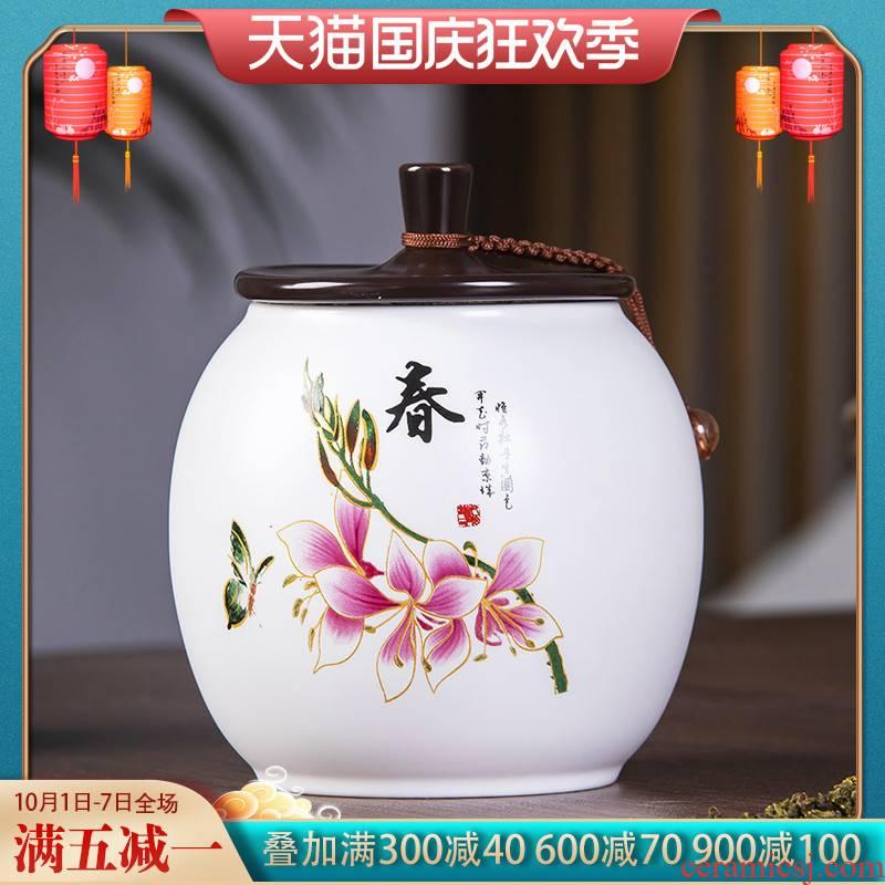 Jingdezhen ceramic famille rose tea pot of Chinese style household storage tank moistureproof with cover black tea, green tea POTS