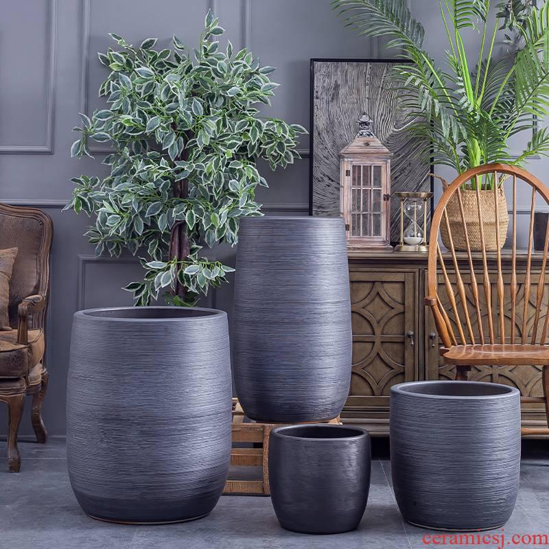 Large ceramic flower pot Nordic simple villa decoration furnishing articles new black clay ceramic Large hydroponic plant POTS