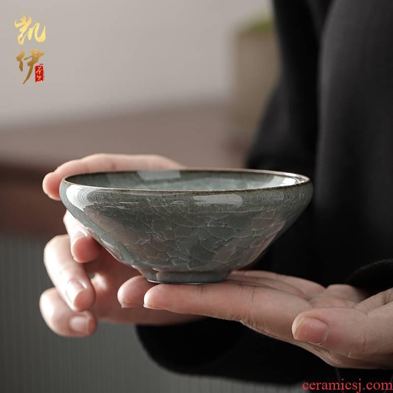 Zeng, Guangxu celadon calving lamps kung fu tea cups, ceramic sample tea cup individual cup tea cup master cup home
