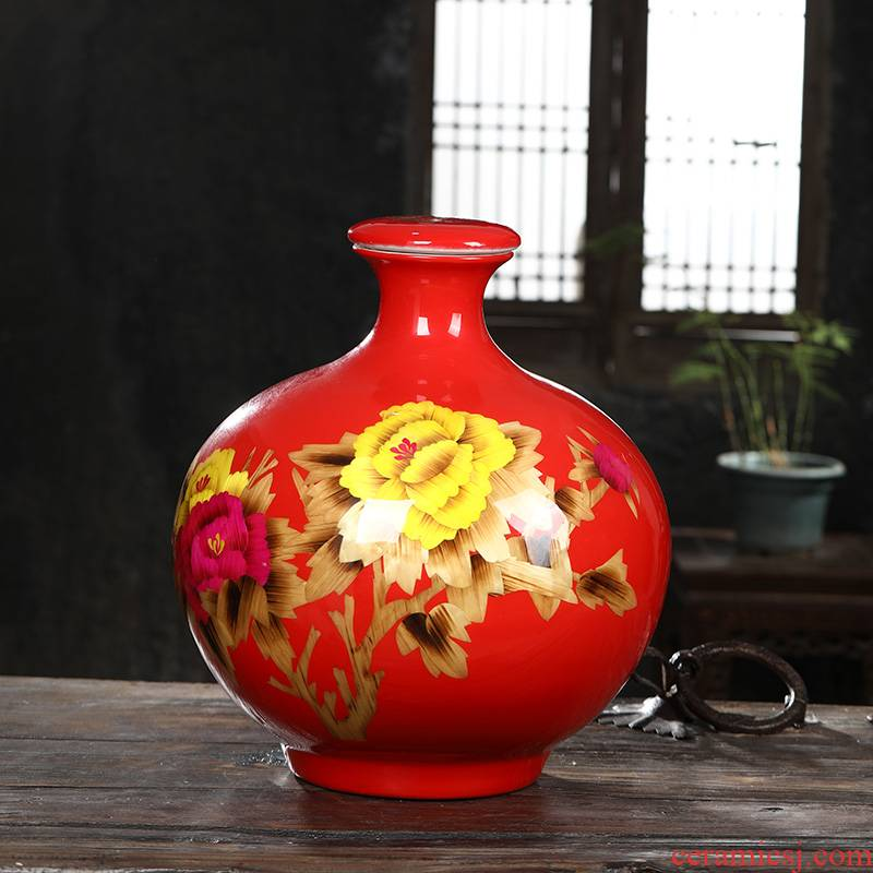 Jingdezhen ceramic bottle Chinese red wine jar straw jars small expressions using it household seal it 50 pounds