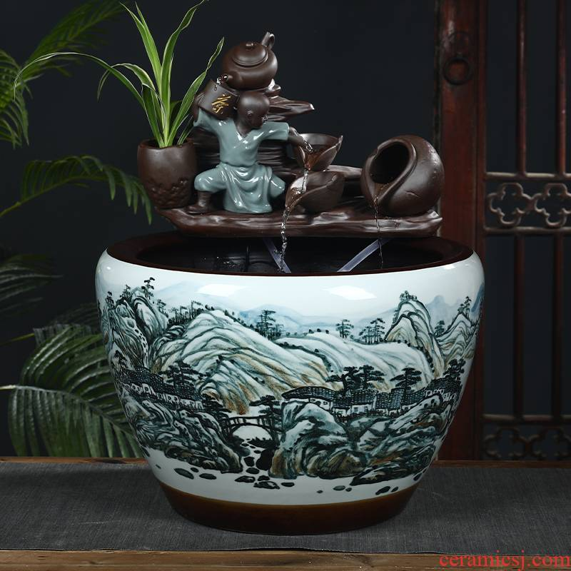 Jingdezhen ceramic aquariums circulating water informs the extra large gold fish bowl sitting room feng shui plutus furnishing articles