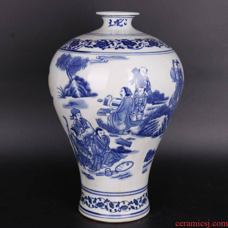 Antique crafts porcelain household of Chinese style living room rich ancient frame penjing collection the qing qianlong character mei bottle