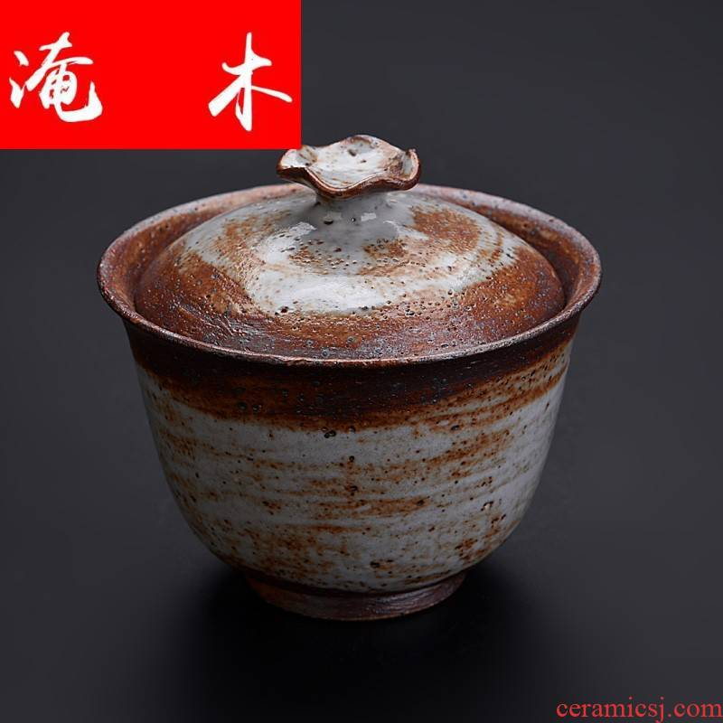Flooded wooden Japanese style restoring ancient ways to burn only coarse pottery tureen three bowls of archaize work hand in hand to use to use ceramic cups